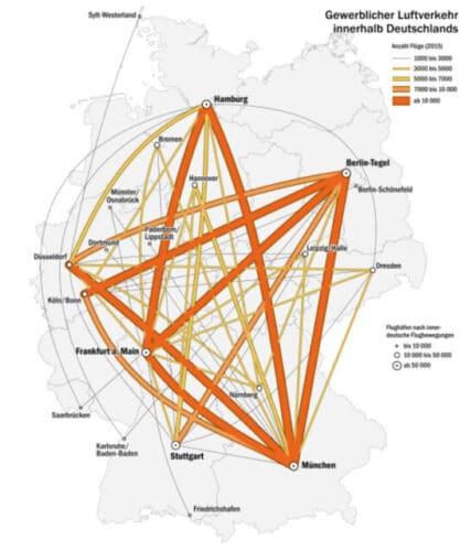 Mapa de Aeropuertos HUB en Alemania