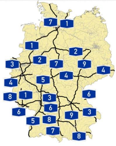 Mapa de autopistas en Alemania
