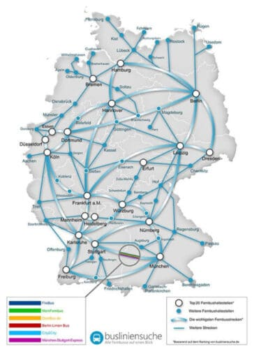 Mapa de la red de Autobuses en Alemania