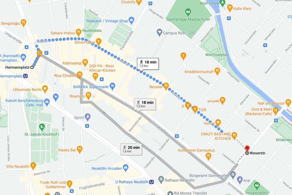 Desde Hermannplatz hasta la Weserstrasse