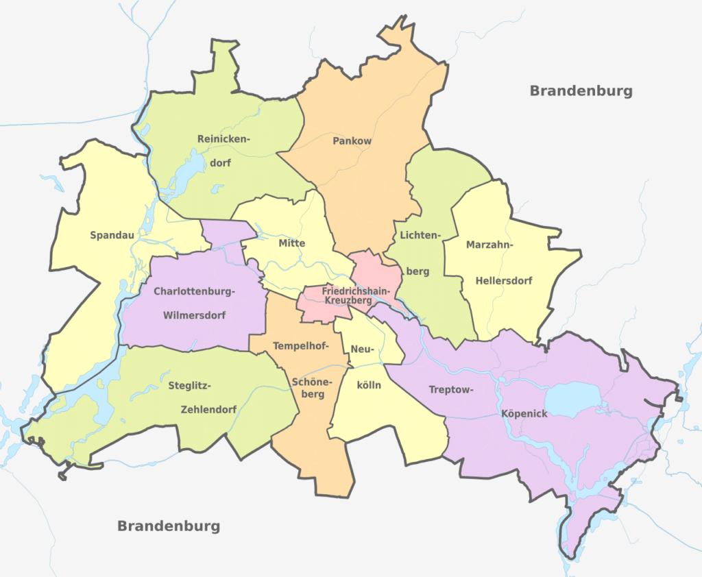 Mapa de los barrios en Berlin
